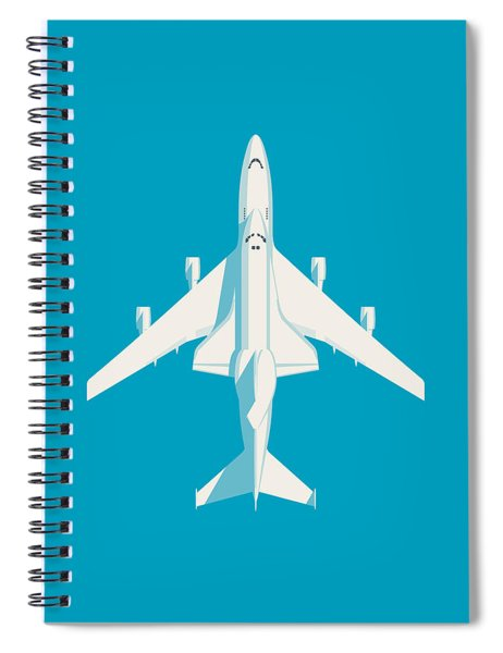 Space Shuttle And 747 Transport Jet - Cyan Spiral Notebook