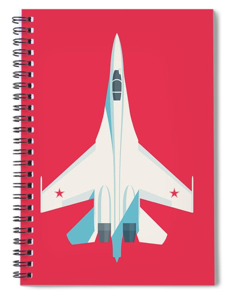 Su-27 Flanker Fighter Jet Aircraft - Crimson Spiral Notebook