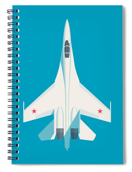 Su-27 Flanker Fighter Jet Aircraft - Cyan Spiral Notebook