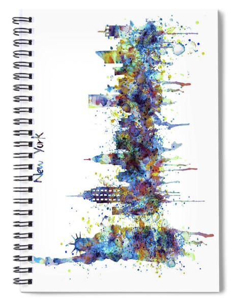 New York Watercolor Skyline Spiral Notebook