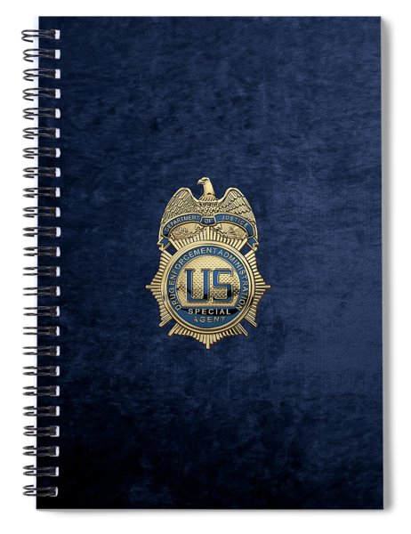 Drug Enforcement Administration -  D E A  Special Agent Badge Over Blue Velvet Spiral Notebook