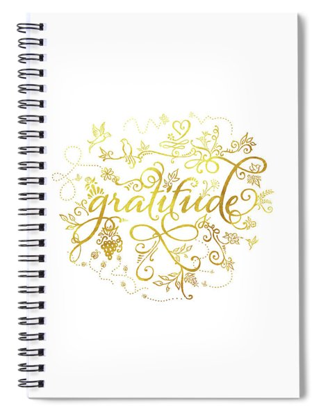 Golden Gratitude Spiral Notebook