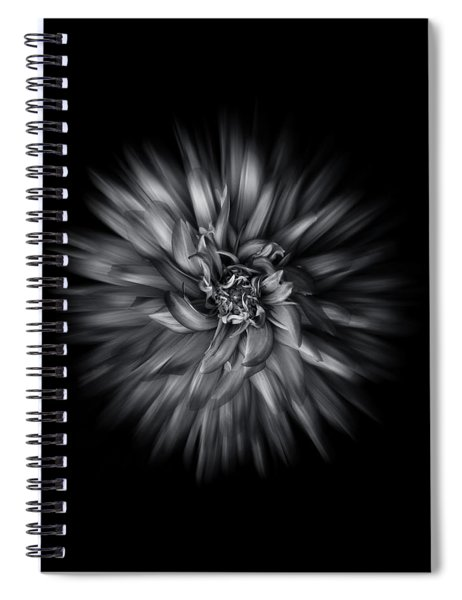 Black And White Flower Flow No 5 Spiral Notebook