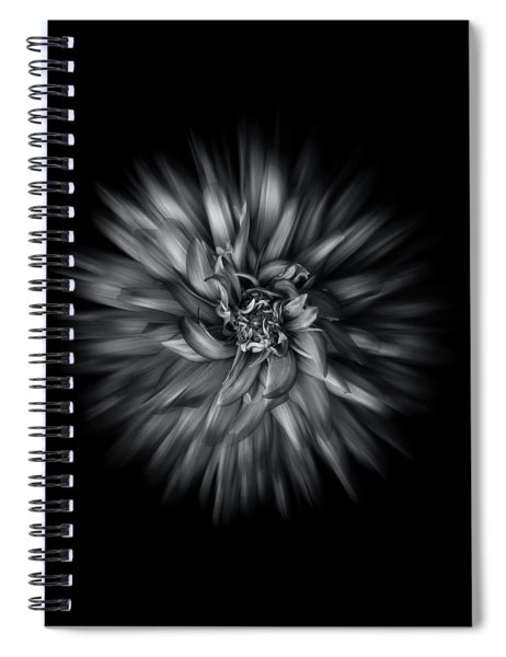 Black And White Flower Flow No 5 Spiral Notebook