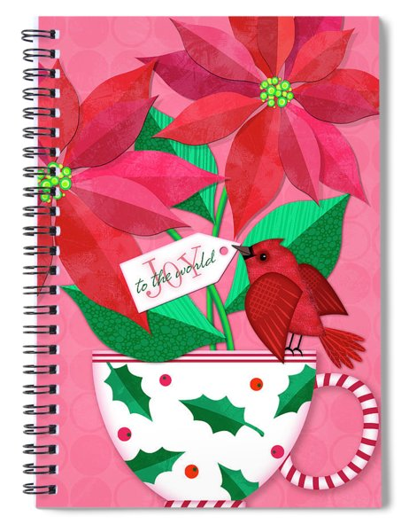 Poinsettia In Christmas Cup Spiral Notebook