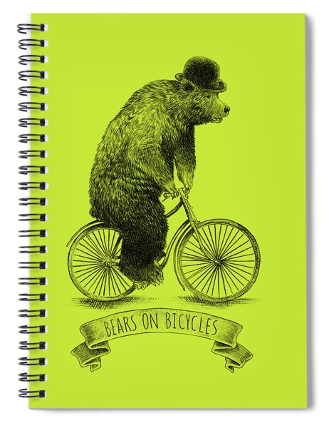 Bears On Bicycles - Lime Spiral Notebook