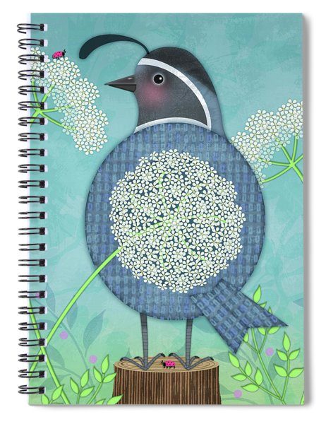 Q Is For Quail And Queen Anne's Lace Spiral Notebook