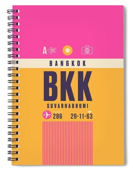 Retro Airline Luggage Tag - Bkk Bangkok Thailand Spiral Notebook