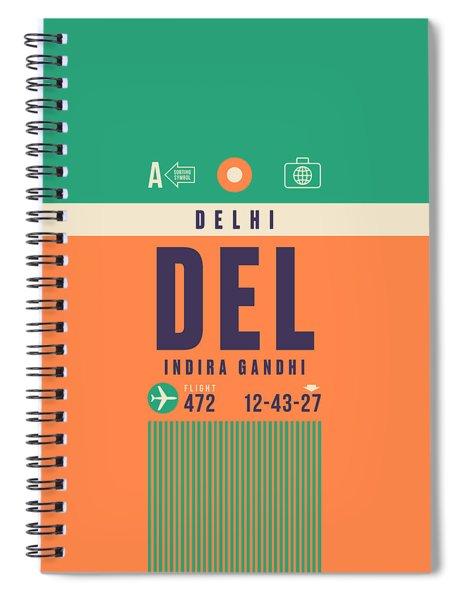 Retro Airline Luggage Tag - Del Delhi Airport Spiral Notebook