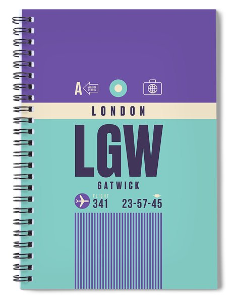 Retro Airline Luggage Tag - Lgw London Gatwick Airport Spiral Notebook