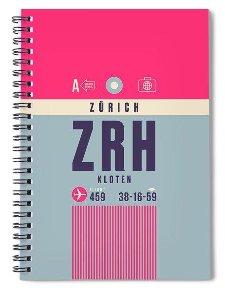 Retro Airline Luggage Tag - Zrh Zurich Airport Switzerland Spiral Notebook