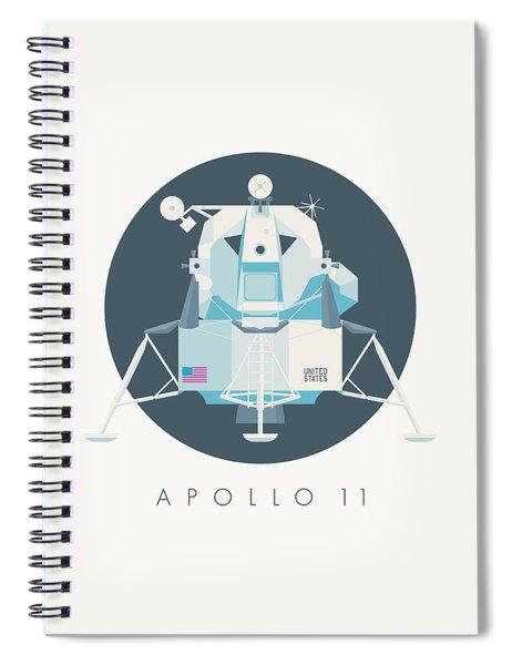 Apollo Lunar Module Lander Minimal - Text Charcoal Spiral Notebook
