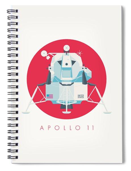 Apollo Lunar Module Lander Minimal - Text Crimson Spiral Notebook