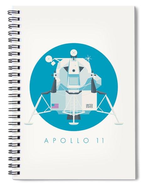 Apollo Lunar Module Lander Minimal - Text Cyan Spiral Notebook