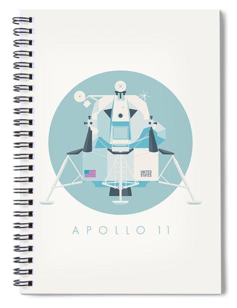Apollo Lunar Module Lander Minimal - Text Sky Spiral Notebook
