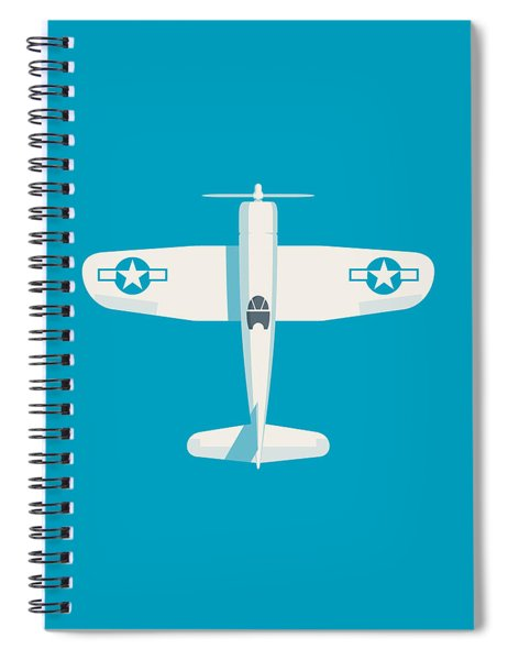 Corsair Fighter Aircraft - Cyan Spiral Notebook