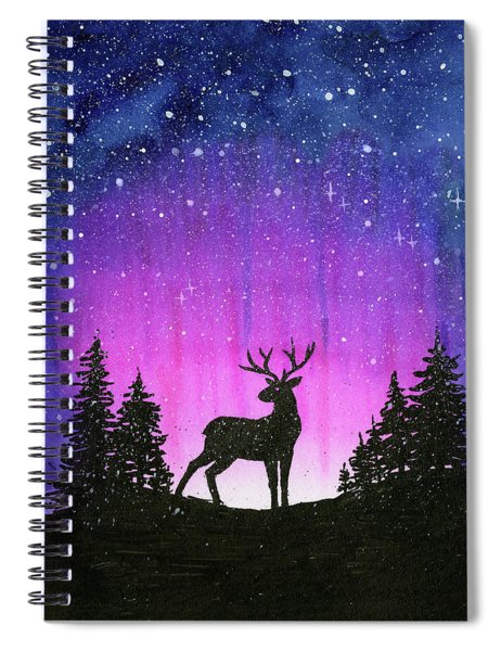 Winter Forest Galaxy Reindeer Spiral Notebook