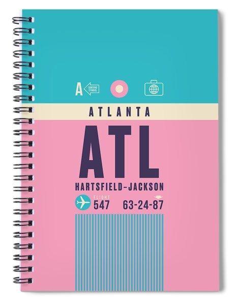 Retro Airline Luggage Tag - Atl Atlanta Spiral Notebook