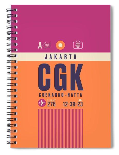 Retro Airline Luggage Tag - Cgk Jakarta Indonesia Spiral Notebook