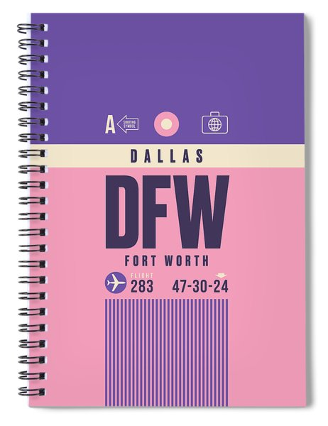 Retro Airline Luggage Tag - Dfw Dallas Fort Worth United States Spiral Notebook