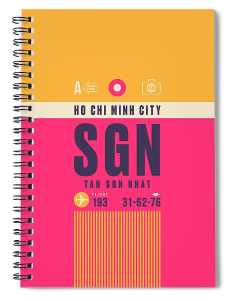 Retro Airline Luggage Tag - Sgn Ho Chi Minh City Vietnam Spiral Notebook