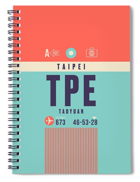 Retro Airline Luggage Tag - Tpe Taipei Taiwan Spiral Notebook