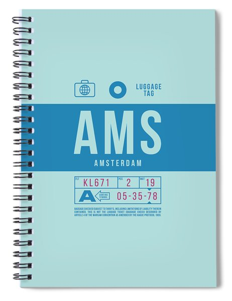 Retro Airline Luggage Tag 2.0 - Ams Amsterdam Netherlands Spiral Notebook