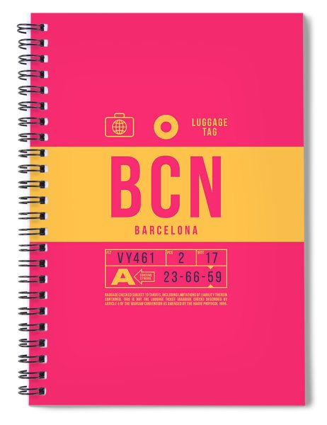 Retro Airline Luggage Tag 2.0 - Bcn Barcelona Spain Spiral Notebook