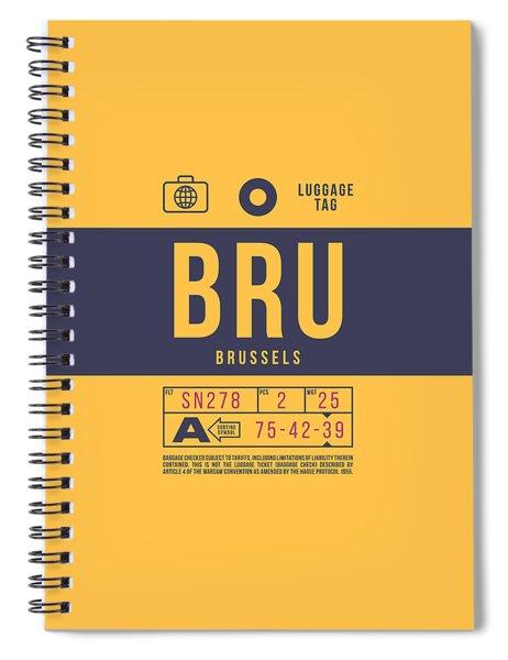 Retro Airline Luggage Tag 2.0 - Bru Brussels Belgium Spiral Notebook