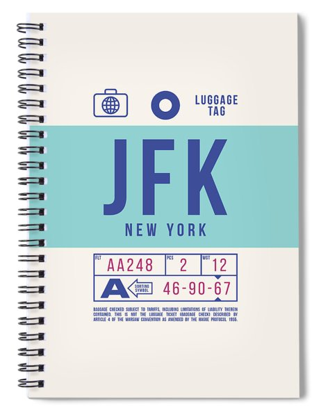 Retro Airline Luggage Tag 2.0 - Jfk New York United States Spiral Notebook