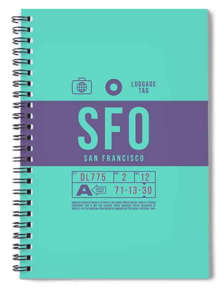 Retro Airline Luggage Tag 2.0 - Sfo San Francisco International Airport United States Spiral Notebook