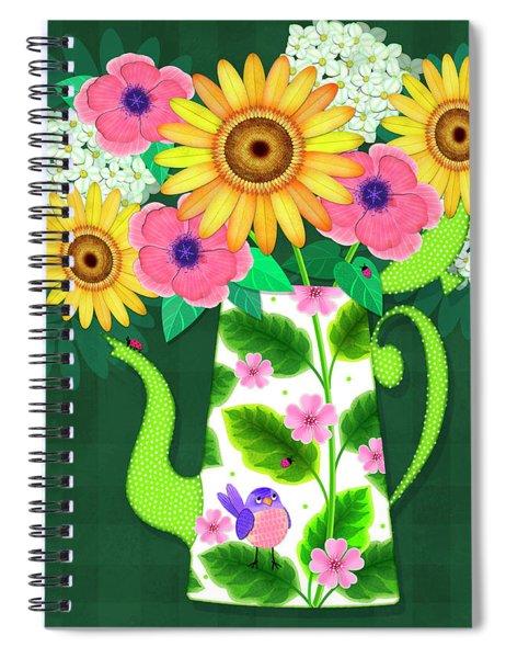 Summer Flowers In Coffee Pot Spiral Notebook