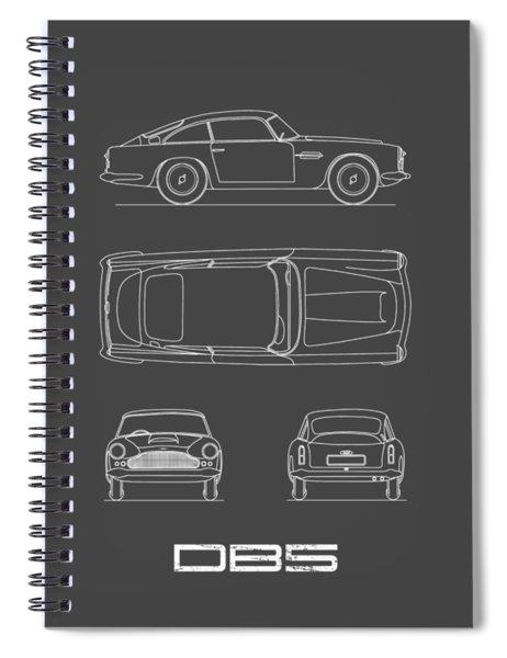 Aston Db5 Blueprint Spiral Notebook