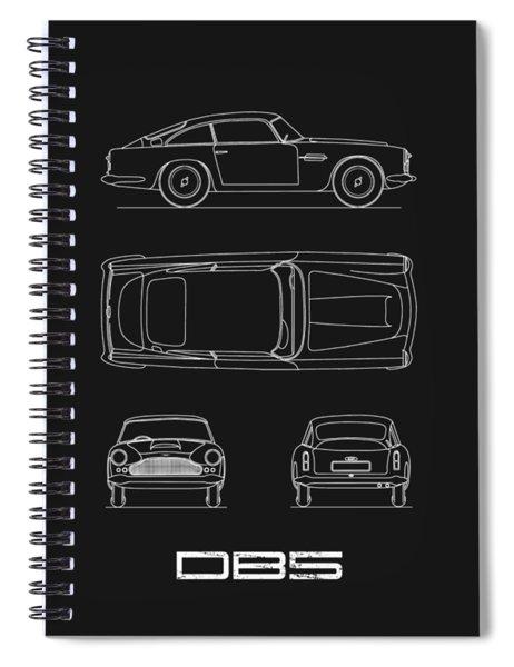 Aston Db5 Blueprint Black Spiral Notebook