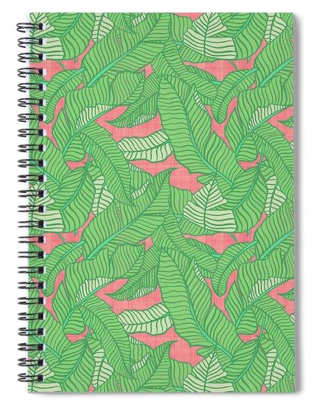 Banana Leaf Pattern Pink Spiral Notebook