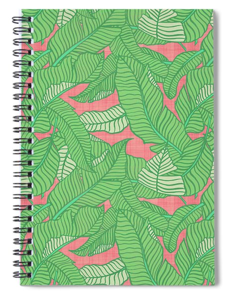 Banana Leaf Pattern Pink Spiral Notebook