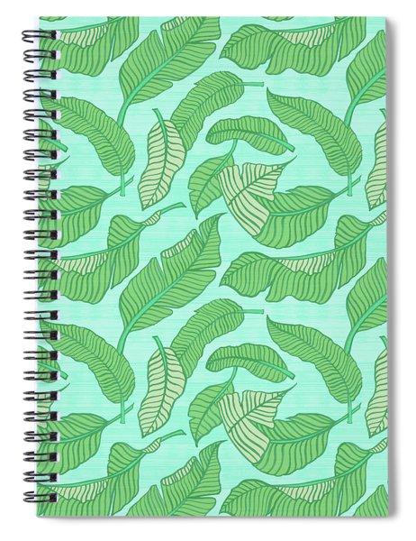 Banana Leaf Pattern Blue Spiral Notebook