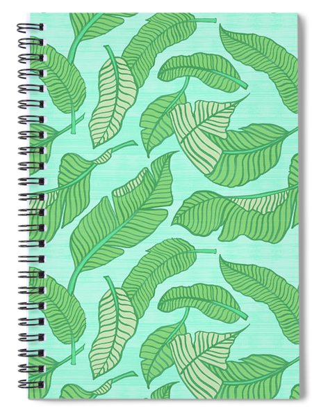 Banana Leaf Pattern Blue Spiral Notebook