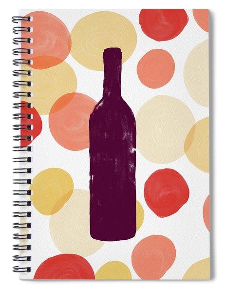 Bold Modern Wine Bottle Art Spiral Notebook