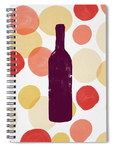 Bold Modern Wine Bottle Art Spiral Notebook
