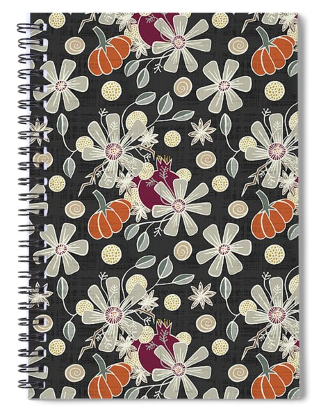 Fall Pumpkin Botanical Pattern Black Background Spiral Notebook