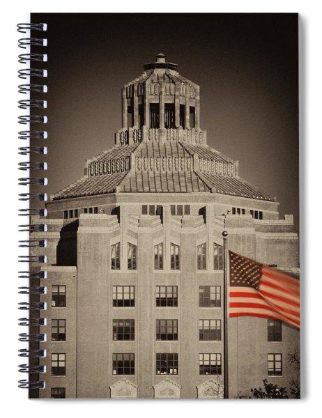 Asheville City Hall Sepia Spiral Notebook