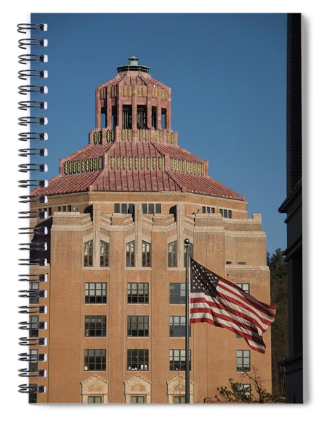 Asheville City Hall With Flag Spiral Notebook