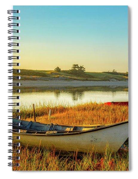 Boats In The Marsh Grass, Ogunquit River Spiral Notebook
