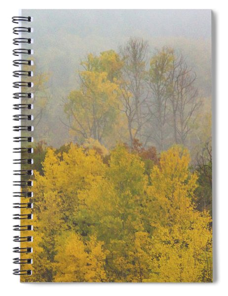 Spiral Notebook featuring the photograph Aspen Trees In Fog by John De Bord
