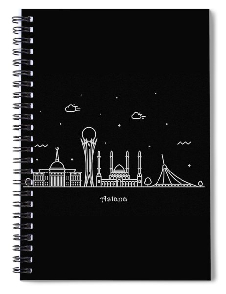 Astana Skyline Travel Poster Spiral Notebook
