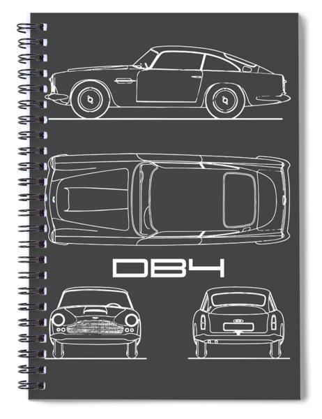 Aston Martin Db4 Blueprint - Black Spiral Notebook