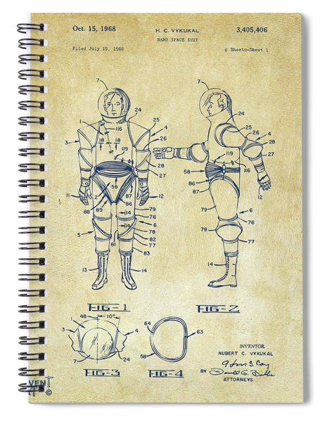 Astronaut Space Suit Patent 1968 - Vintage Spiral Notebook