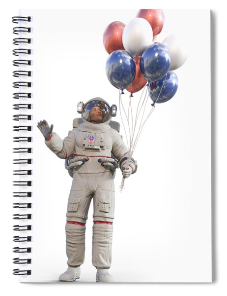 Astronaut With Happy Balloons  Spiral Notebook