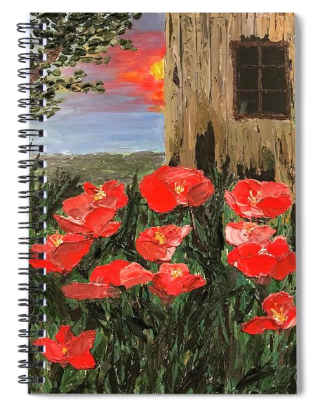 At Sunset By The Old Barn Spiral Notebook